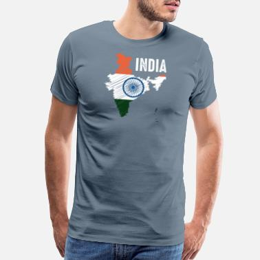 India Ink India Cricket Indian Roots Fans Sport Supporter - Men's Premium T-Shirt