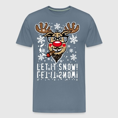 86 Reindeer Rudolph Beard LET IT SNOW Cigar Fun - Men's Premium T-Shirt