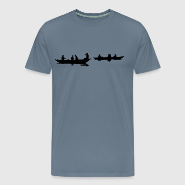 People In Boats Silhouette - Men's Premium T-Shirt
