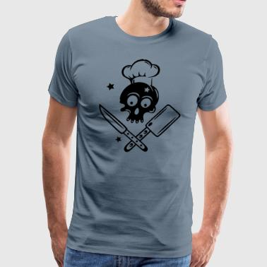 Skull with cooking hat, knives and stars. - Men's Premium T-Shirt