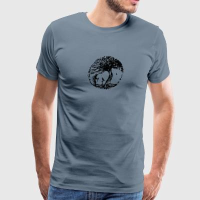 Hiker and the crow - Men's Premium T-Shirt