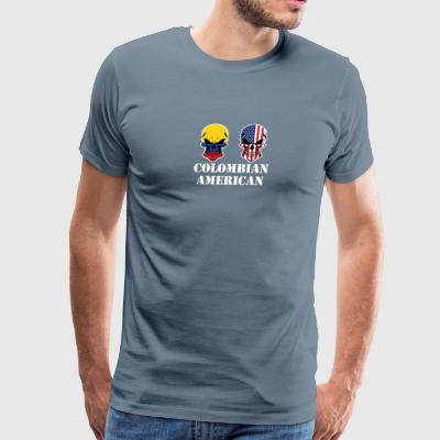 Colombian American Flag Skulls - Men's Premium T-Shirt