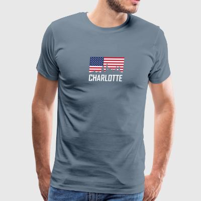 Charlotte North Carolina Skyline American Flag - Men's Premium T-Shirt