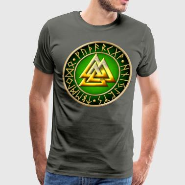Valknut Runes - Green - Men's Premium T-Shirt
