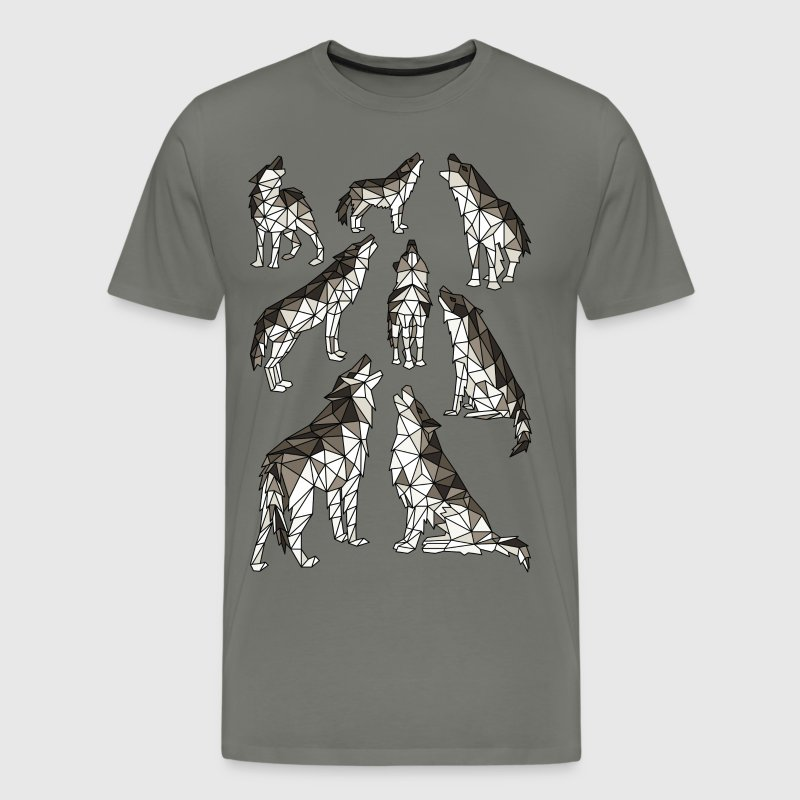 Geometric Wolves Howling At Moon - Men's Premium T-Shirt