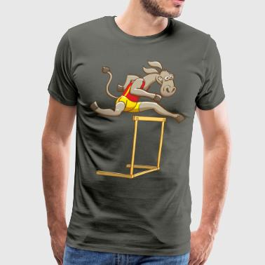 Donkey Running and Jumping in a Hurdling Race - Men's Premium T-Shirt