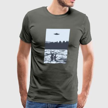 UFO over Bigfoot Riding on Nessie Lochness Monster - Men's Premium T-Shirt