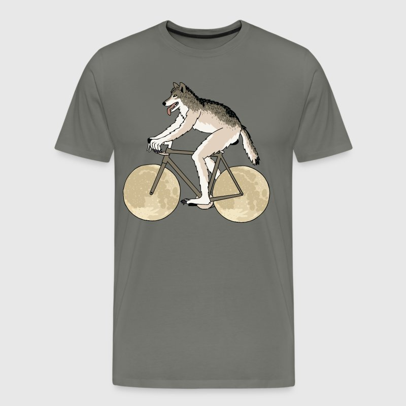 Werewolf Riding Bike With Full Moon Wheels - Men's Premium T-Shirt