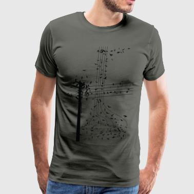 Birds On Electric Power Line morning song birds  ss - Men's Premium T-Shirt