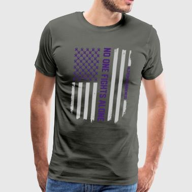 Alzheimer's Awareness American Flag T-Shirt Gift - Men's Premium T-Shirt