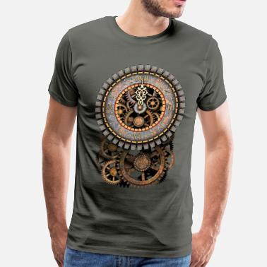 Age Of Steam Steampunk Clock and Gears T-Shirts - Men's Premium T-Shirt