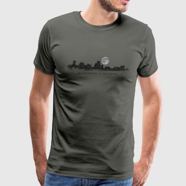 Baltimore, Maryland Skyline with Full Moon - Men's Premium T-Shirt