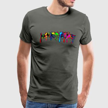 Color, rainbow, graffiti, splash, paint, comics,  - Men's Premium T-Shirt