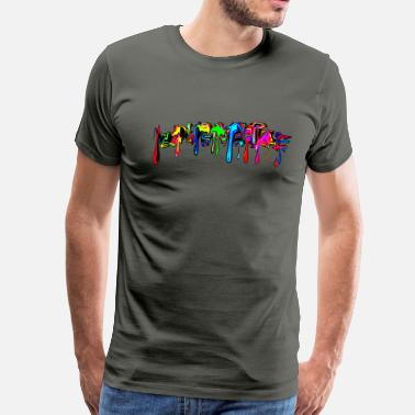 Paint Color, rainbow, graffiti, splash, paint, comics,  - Men's Premium T-Shirt