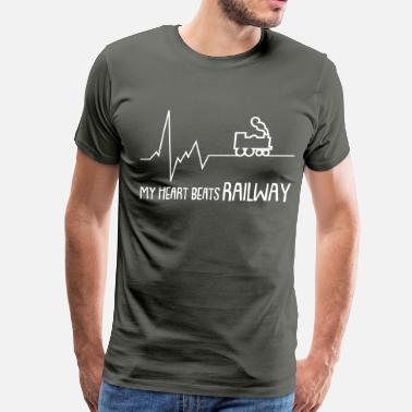 Railway Workers my heart beats railway - Men's Premium T-Shirt