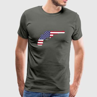 American Flag Gun - Men's Premium T-Shirt