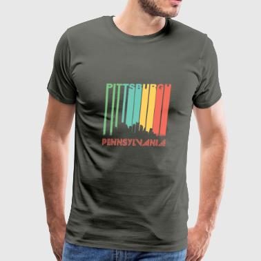 Retro Pittsburgh Skyline - Men's Premium T-Shirt