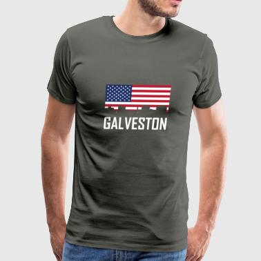 Galveston Texas Skyline American Flag - Men's Premium T-Shirt