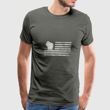Wisconsin State United States Flag Vintage USA - Men's Premium T-Shirt