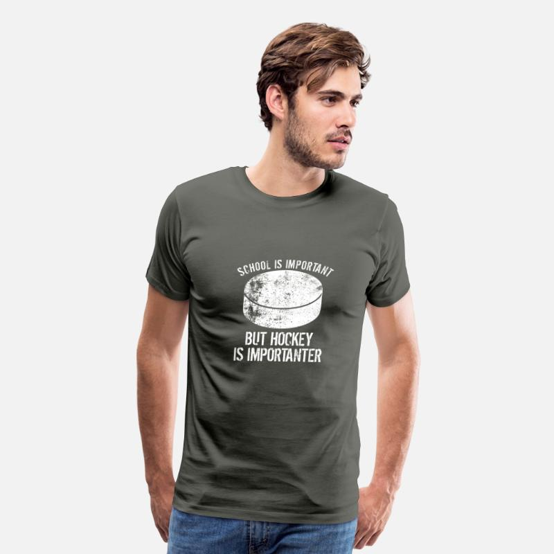 Hockey T-Shirts - School Is Important But Hockey Is Importanter - Men's Premium T-Shirt asphalt