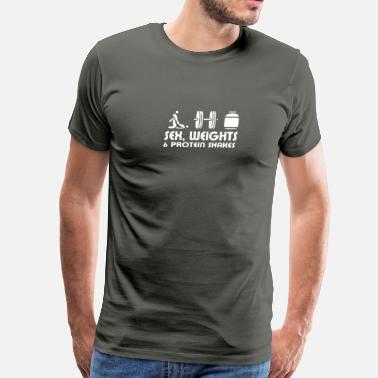 Sex Humour SEX-WEIGHT-AND-PROTEIN-SHAKES HUMOUR - Men's Premium T-Shirt