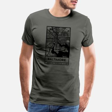 Map Baltimore – City Map Plan (Retro) - Men's Premium T-Shirt