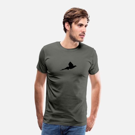 "Hunting T-Shirts - ""Pheasant"" T-shirt customizable with your text - Men's Premium T-Shirt asphalt gray"
