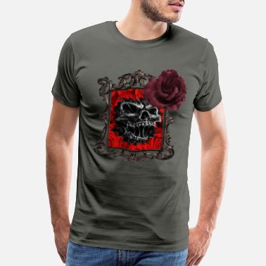 Gothic Horror softened by the beauty of red roses - Men's Premium T-Shirt