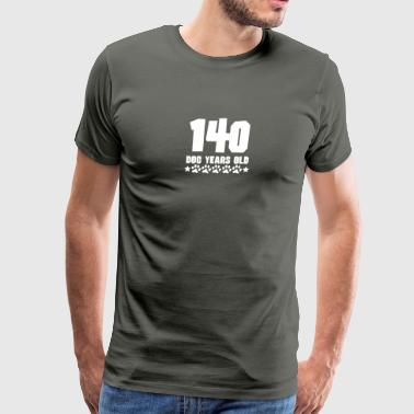 140 Dog Years Old Funny 20th Birthday - Men's Premium T-Shirt