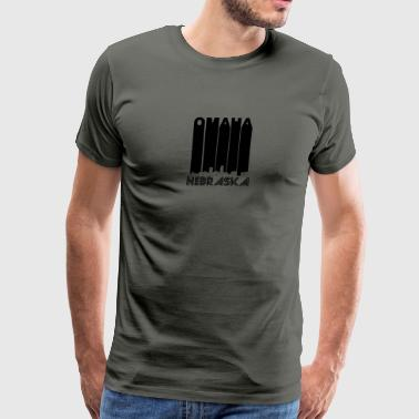 Retro Omaha Nebraska Skyline - Men's Premium T-Shirt