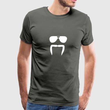 Aviator Sunglasses Horseshoe Fu Manchu Biker Musta - Men's Premium T-Shirt