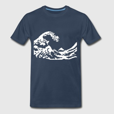 Hokusai wave 8bits - Men's Premium T-Shirt