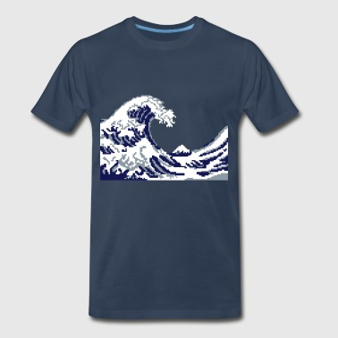 Hokusai Wave Pixel art - Men's Premium T-Shirt