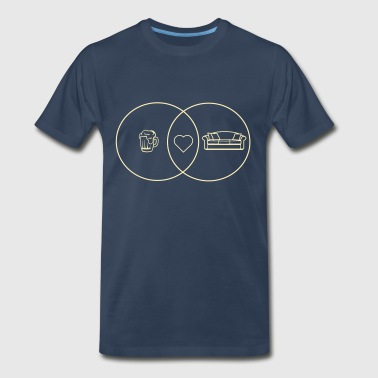 Beer + Couch is Love Venn Diagram - Men's Premium T-Shirt