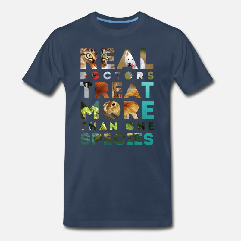 Vet Tech T-Shirts - Real doctors treat more than one species - Men's Premium T-Shirt navy