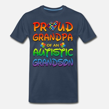 Autistic Autism Awareness Proud Grandpa Autistic Grandson - Men's Premium T-Shirt