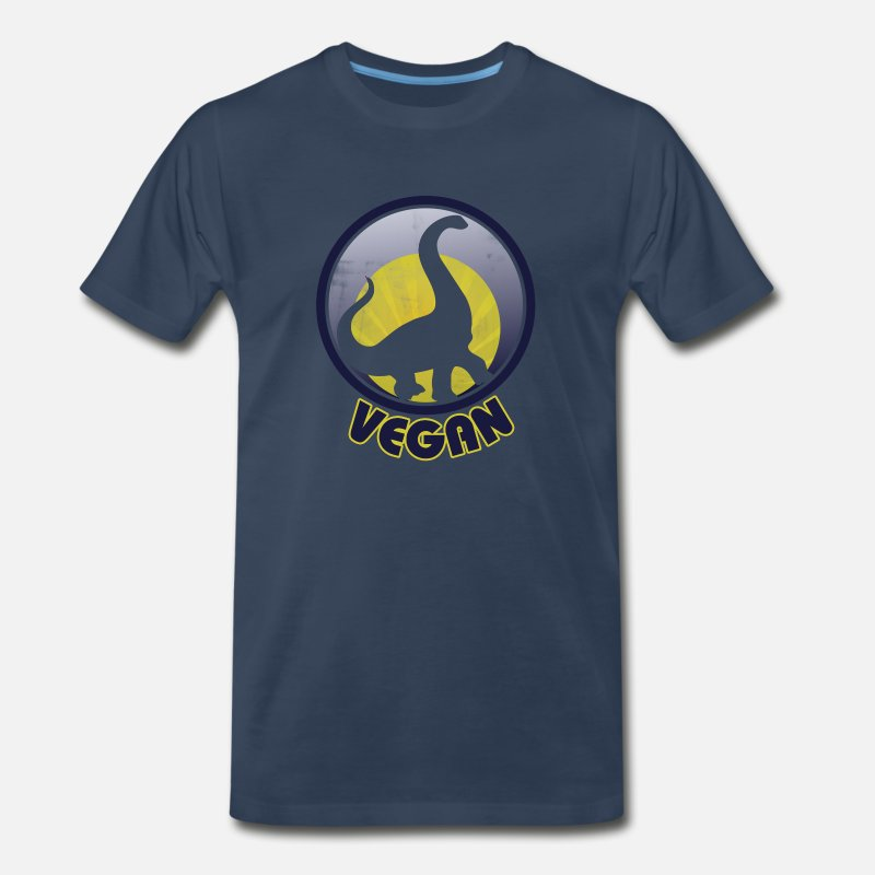 Vegan T-Shirts - Vegan Dinosaur - Men's Premium T-Shirt navy