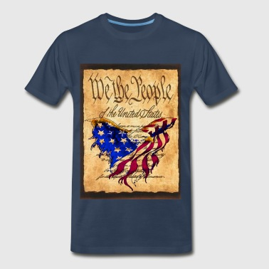 We The People American Eagle Flage - American Flag Flag overlaying the Preamble to the Constitutiion - Men's Premium T-Shirt