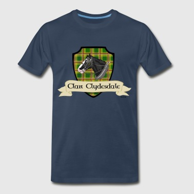 White Tartan clan clydesdale shield - Men's Premium T-Shirt