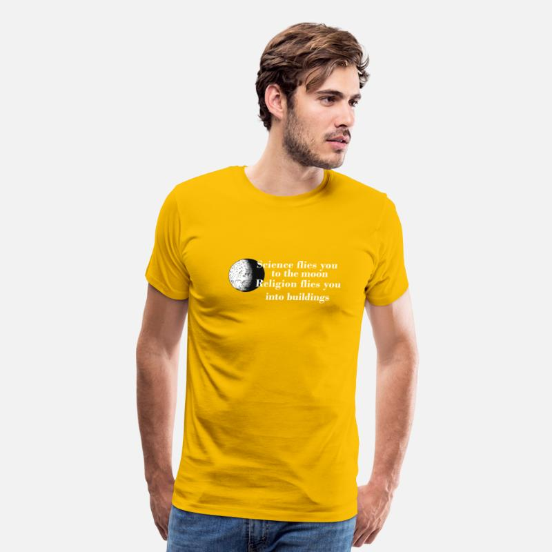 6a9daaf2 Science is to the Moon Religion goes into Building Men's Premium T-Shirt    Spreadshirt