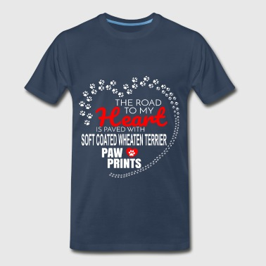 Soft Coated Wheaten The Road To My Heart Is Paved With Soft Coated Wheaten Terrier Paw Prints - Men's Premium T-Shirt
