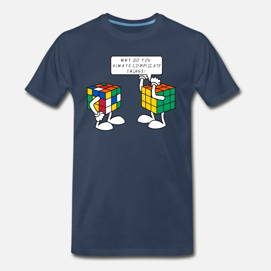 Geek T-Shirts - Rubik's Cube Formula Theory Of Relativity Blue - Men's Premium T-Shirt navy