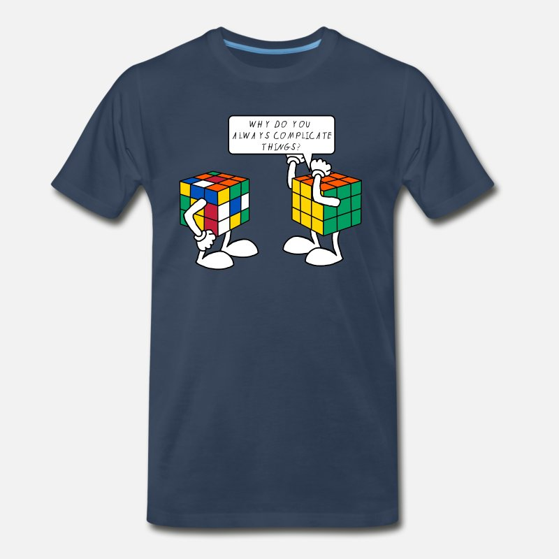 Cube T-Shirts - Rubik's Cube Formula Theory Of Relativity Blue - Men's Premium T-Shirt navy