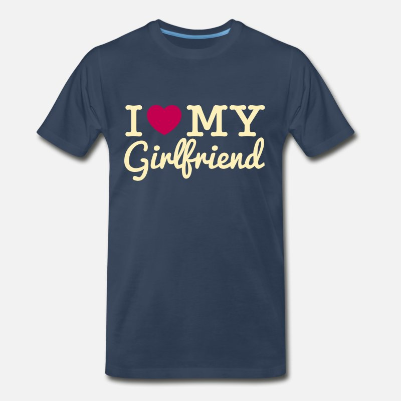 Couples T-Shirts - I Love My Girlfriend - Men's Premium T-Shirt navy