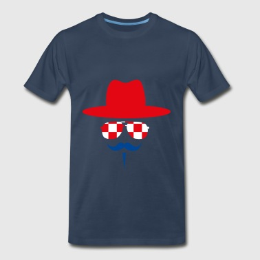 Croatia Fan with mustache - Men's Premium T-Shirt