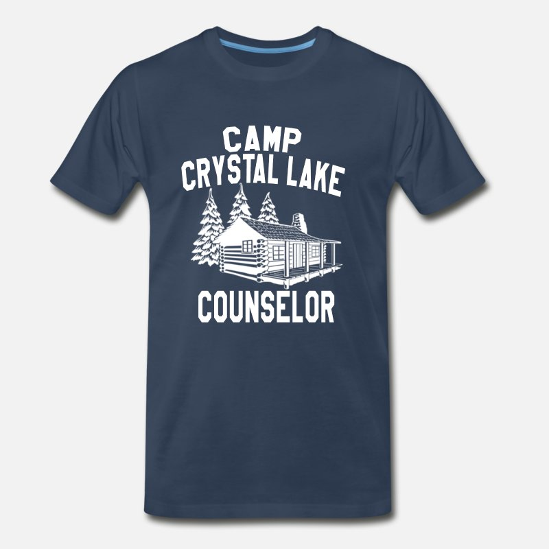 Horror T-Shirts - Camp Crystal Lake Counselor - Friday The 13th    - Men's Premium T-Shirt navy
