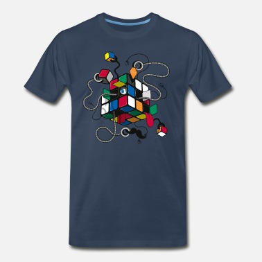 Melting Rubik's Cube Illustrated - Men's Premium T-Shirt