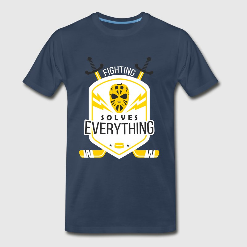 Fighting Solves Everything Hockey T-shirt - Men's Premium T-Shirt