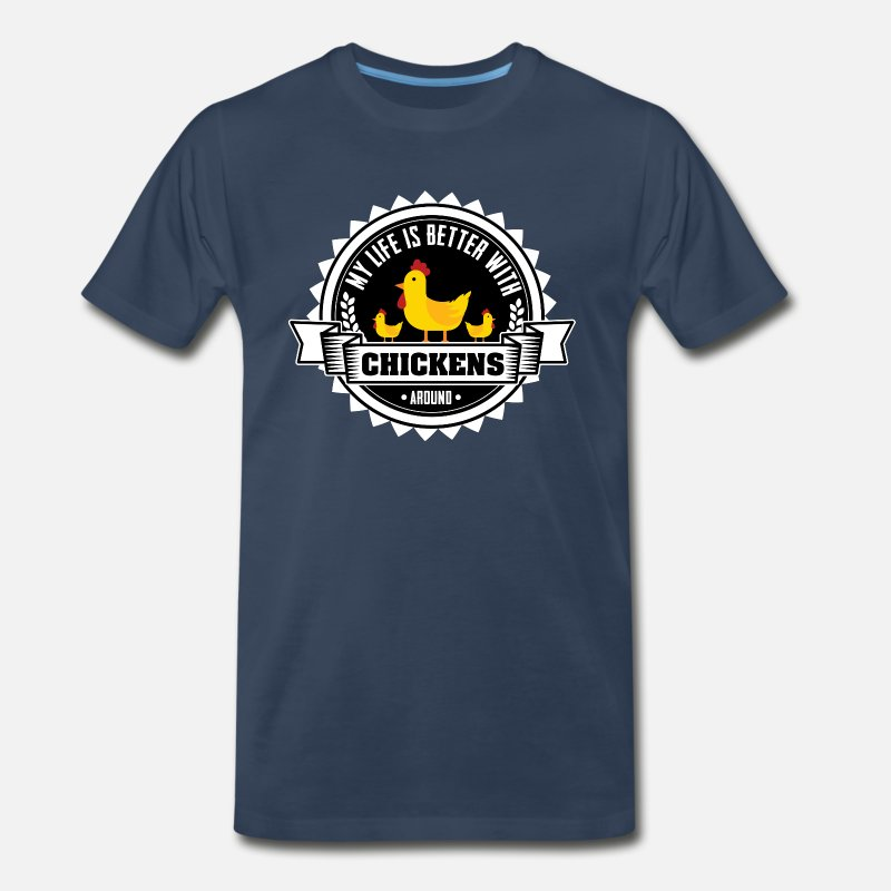 Farmer T-Shirts - Chicken Farmer T-Shirt - Men's Premium T-Shirt navy