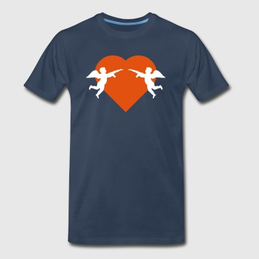 Two Rifles Angels against heart with rifle - Men's Premium T-Shirt